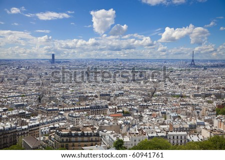 Paris skyline. Great panoramic from the Sacre Coeur. Can see the entire downtown from Montmartre to Montparnasse and the Eiffel tower - stock photo
