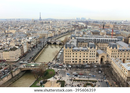 Paris Skyline View from Notre-Dame Cathedral
