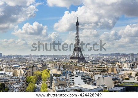 Paris skyline with Eiffel tower in background - stock photo