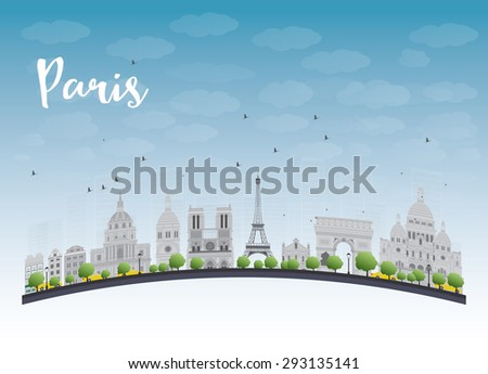 Paris skyline with grey landmarks and blue sky. Business travel and tourism concept with place for text. Image for presentation, banner, placard and web site. - stock photo