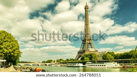 Paris skyline with The Eiffel tower, France. Vintage photo. - stock photo