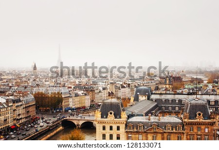Paris skyline with view of the Eiffel Tower. - stock photo