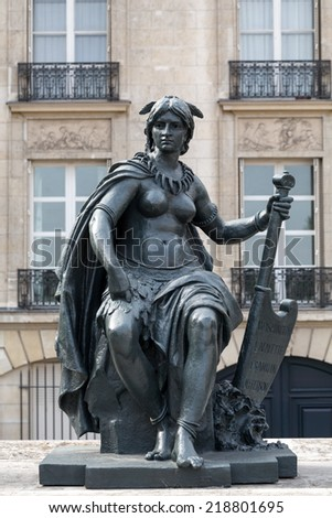 Paris - Statues of six continets in front of Orsay Museum  - stock photo