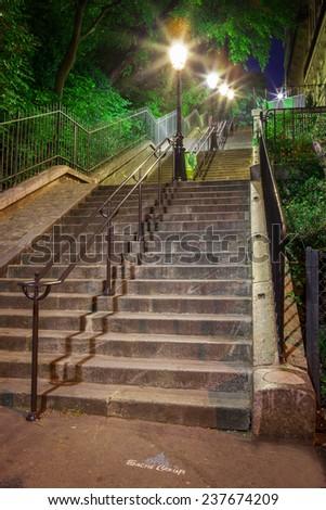 Paris - Steps of Montmartre to Basilique Du Sacre Coeur - stock photo