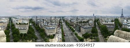 Paris Streets from the Arc de Triomphe - stock photo