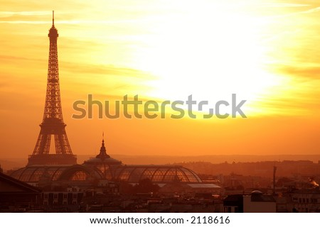 paris sunset eiffel tower panoramic cityscape with vibrant colors - stock photo