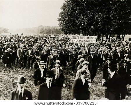 Paris sympathizers of Sacco and Vanzetti demonstrate. An immense demonstration was held in the Bois de Vincennes outside Paris by sympathizers of the two condemned Massachusetts radicals, Sacco and Va - stock photo