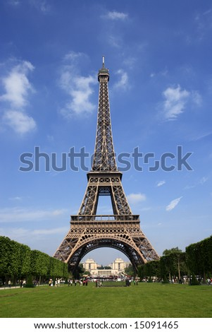 Paris, the Eiffel Tower on a picture perfect day summer day.