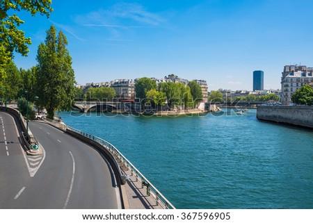 Paris - The River Seine and Saint Louis island - France - stock photo