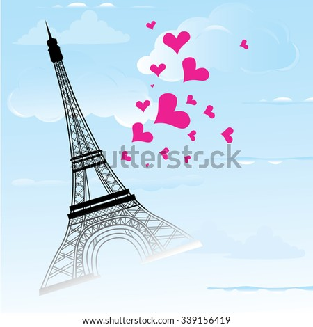 Paris town in France card as symbol love and romance travel, eiffel tower with hearts illustration. Raster version. - stock photo
