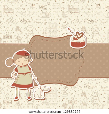 Paris travel background with cake and little french girl character, copyspace for text. Retro vintage style. - stock photo