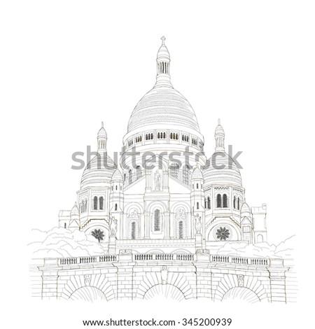 Paris urban sketch - Sacre?-CÅ?ur-de-Montmartre - stock photo