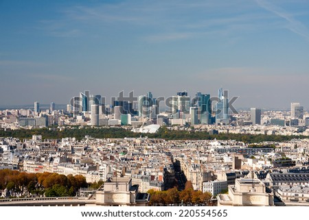 Paris view from the Eiffel tower - La Defence - stock photo