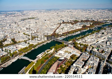 Paris view from the Eiffel tower - river Seine - stock photo
