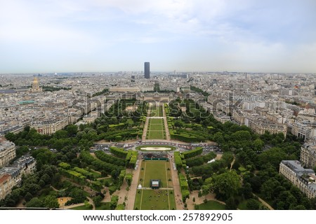 Paris view from the top of Eiffel Tower.View of the city of Paris ,France , photographed from the Eiffel tower.Eiffel tower visit and ride. Beautiful Paris sightseeing - stock photo