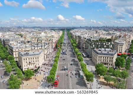Paris. View of the Champs Elysees from the Arc de Triomphe - stock photo
