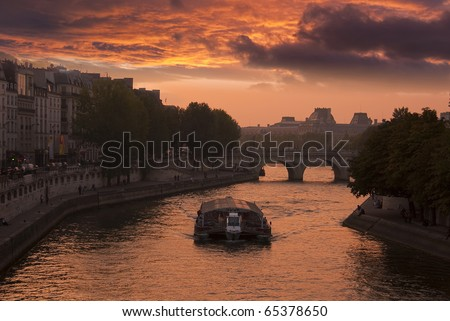 Paris view of the river Seine a sunset