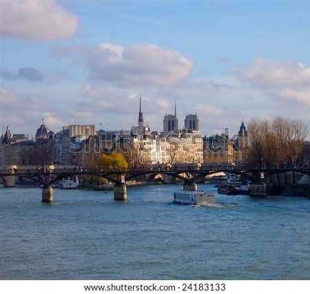 Paris, view on the Seine and Notre-Dame - stock photo
