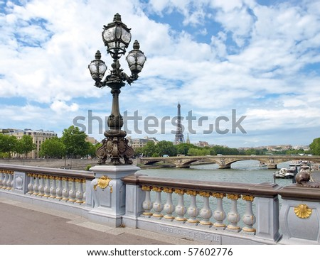 Paris view with Eiffel tower from Bridge of Alexandre III - stock photo