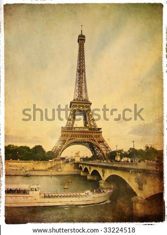 Paris- vintage style picture - stock photo