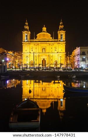 Parish Church at night Floriana. Malta - stock photo