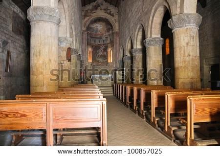 Parish church of St. Giorgio. Vigoleno. Emilia-Romagna. Italy. - stock photo