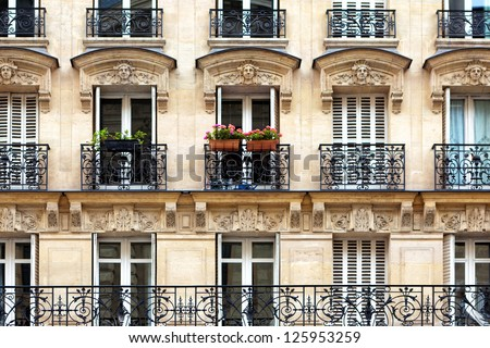 Parisian balconies - stock photo
