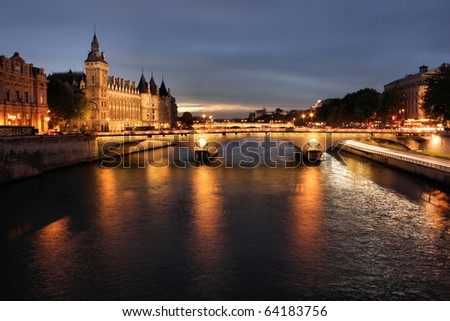Parisian bridge at night