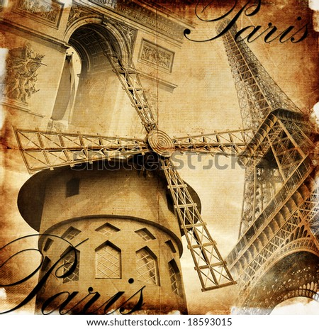 Parisian details - toned picture in retro style - stock photo