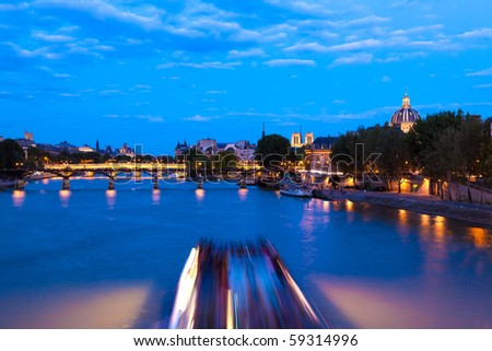 Parisian landmarks on the Seine - stock photo