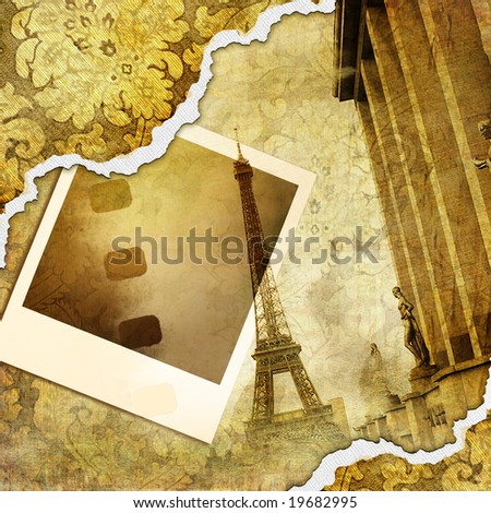 Parisian memories - retro photoalbum - stock photo