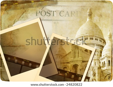 Parisian memories - vintage photoalbum - stock photo