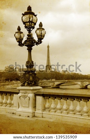 Parisian streets - picture in vintage painting style - stock photo