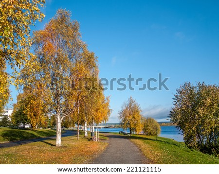 Park alley in autumn colors with bridge over the river in the background, Rovaniemi, Finland - stock photo