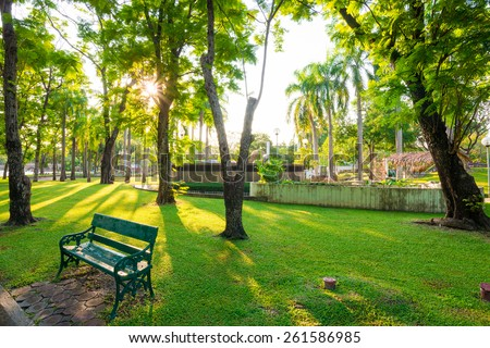 Park and bench for recreation area in the city, Green grass - stock photo