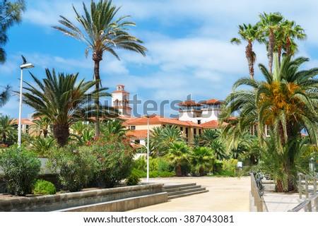 Park and houses of Maspalomas resort. Gran Canaria, Spain - stock photo