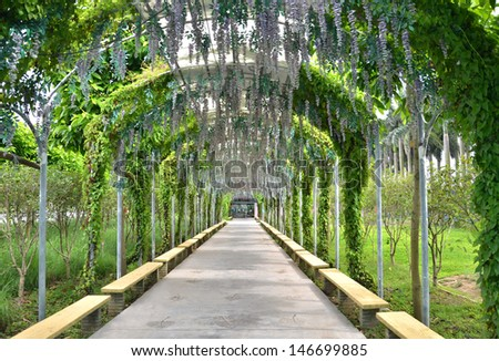 Park arch walking Road - stock photo