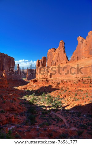 Park Avenue in late afternoon light at Arches National Park - stock photo