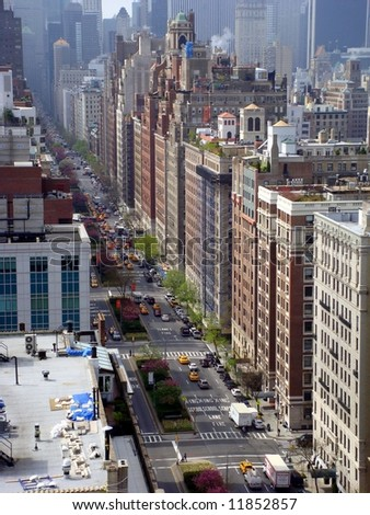Park Avenue Manhattan looking south - stock photo