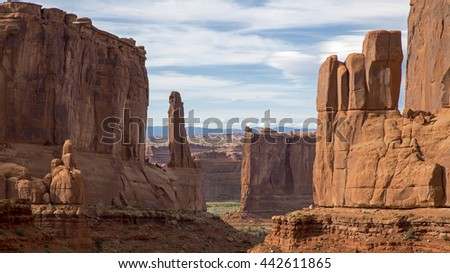 Park Avenue rock formation Arches National Park Moab Utah. - stock photo