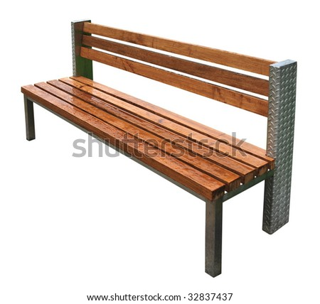 Park Bench After Rain - stock photo