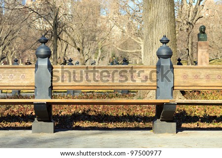 Park Bench along Literary Walk in Central Park, New York City - stock photo