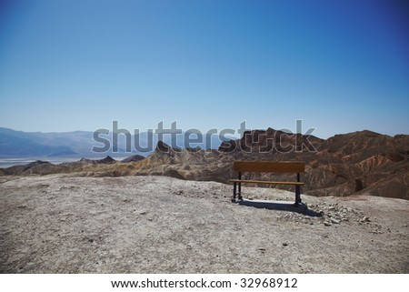 Park Bench in Death Valley - stock photo