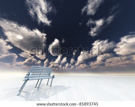 Park bench in minimal landscape - stock photo