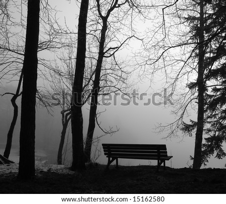 park bench in the mist, black and white - stock photo