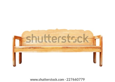 park bench isolated on white background - stock photo