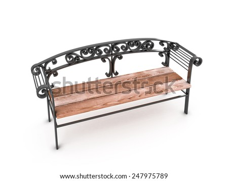 Park Bench isolated on white background. 3D render image. - stock photo