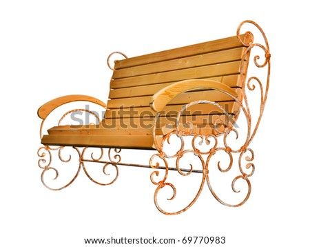 Park bench isolated on white background with clipping path - stock photo