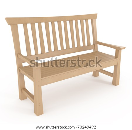 Park Bench Isolated on white - 3d illustration - stock photo