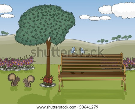 Park Bench Oasis RASTER Version - stock photo